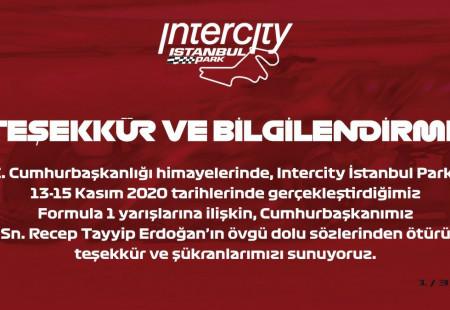 Intercity İstanbul Park, Cumhurbaşkanı Recep Tayyip Erdoğan'a Teşekkür Etti
