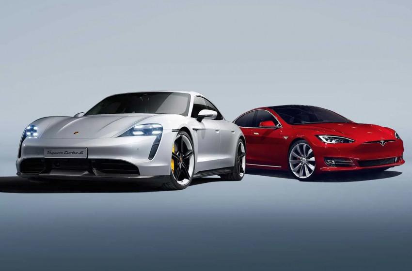 Tesla Model S ve Porsche Taycan Karşı Karşıya